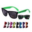 Neon/Black Frame UV Protective Sunglasses - Dark UV protective lenses meet ANSI Z80.3 Gen. Purpose Reqs. Blocks up to 95% UVB and 60% UVA. Black frames with Neon temples.