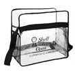 Clear Event Tote w/ Side Mesh Pocket - The size of this tote is stadium approved. This bag has a side zipper opening with dual side mesh pockets.