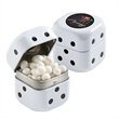 "Dice Tin with White Mints - 1.75"" x 1.75"" x 1.75"" black and white dice tin filled with 1.4 oz. of white mints."