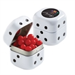 "Dice Tin with Red Hots - 1.75"" x 1.75"" x 1.75"" black and white dice tin filled with 1.4 oz. of red hots."