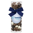 Small Gift Tube with Bridge Mix - Small gift tube filled with bridge mix (nuts and raisins covered in yogurt, milk & dark chocolate; includes decorative bow.