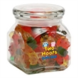 Gummy Bears in Sm Glass Jar - Small glass jar filled with gummy bears; includes ample room for an imprinted brand name or logo.