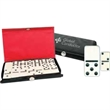 Mini Dominoes Travel Set - Mini, travel-size domino sets feature black vinyl snap-shut cases. Tiles are ivory colored with black dots.