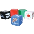"3/4"" Opaque Dice Cubes - 3/4"" opaque dice cubes. Colors: black, blue, green, red, and white. Your full color design on one to six sides."