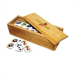 Custom-Imprinted Dominoes in Wooden Box - Custom-printed dominoes set includes 28 double six domino tiles in a stylish wooden box.