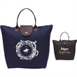 The Fashion Compact Bag - Durable 600 denier polyester tote bag with brown leather-look accents.