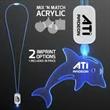 LED Neon Blue Lanyards with Acrylic Dolphin Pendant