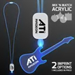 LED Neon Blue Lanyards with Acrylic Guitar Pendant