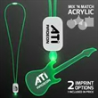LED Neon Green Lanyards with Acrylic Guitar Pendant