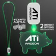 LED Neon Green Lanyard with Acrylic Pig Pendant