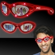 Red Custom LED Billboard Sunglasses - Red billboard sunglasses with LED lighting and a full color imprint on both lenses.