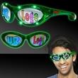 Green Custom LED Billboard Sunglasses - Green billboard sunglasses with LED lighting and a full color imprint on both lenses.
