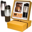 Godiva® Gift Set - Gift set; with a leather wrapped tumbler, hot chocolate and biscuits in a gift box.