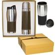 Empire™ Thermal Bottle & Tumbler Gift Set - Leather-wrapped thermos/tumbler set in a gift box.
