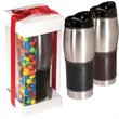Leather-Wrapped Tumbler with Candy Coated Chocolate Set - Leather-wrapped tumbler with candy coated chocolate.