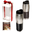 Leather-Wrapped Tumbler with Ghiradelli® Hot Cocoa - 16 oz. stainless steel leather-wrapped tumbler with two packets of premium hot cocoa