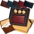 Chocolates & Leeman New York Soho Card Case - Magnetic card case and 3-pack of Ferrero Rocher (R) hazelnut chocolates.