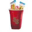 Double-Wall Red Plastic Party Cups with Gummy Hot Dogs