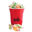 Double-Wall Red Plastic Party Cups with Salt Water Taffy