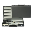 "Charcoal Gray Leatherette w/ White Stitching Backgammon Set. - Leatherette backgammon set comes with a 15"" board with chips, dice, cups."