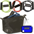 Exercise Kit - Exercise kit in black bag with pedometer and exercise band.