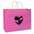 """Breast Cancer Awareness Pink Matte Shopper Bag - Foil Stamp - Breast Cancer Awareness Pink Matte Color Paper Shopping Bag  with Twisted Paper Handles (16""""x6""""x13"""") - Foil Stamp"""