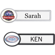 """Pittsburgh Reusable Badge - 3 1/2"""" x 1"""" reusable name badge with oval shape at end, full-color decal, polyurethane dome cover, and magnet closure."""
