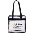 Heavy Duty Clear Stadium Tote - Made of heavy clear PVC.  Perfect size for any sporting event and outdoor outings; Double zipper pulls closure; Open front pocket;