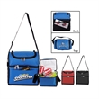 Double Compartment Cooler - Economy 6-can cooler bag with two insulated compartments.