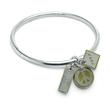 "Bracelet - Bangle bracelet with rectangle ""imagine"", peace sign and square shape charm."