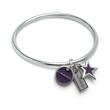 "Charming Dream Bracelet - Bangle bracelet with rectangle ""dream"" charm, star charm and round logo charm."