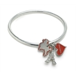 Bracelet - Bangle bracelet with poodle, Paris Eiffel Towel and heart shape charm.