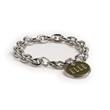 Circle Bracelets - Cable chain charm bracelet with logo charm.