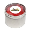 Swedish Fish® in Sm Round Window Tin - Swedish Fish® packed inside a small round window tin with customization options.