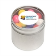 Gumballs in Sm Round Window Tin - Gumballs packed inside a small round window tin with customization options.