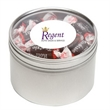 Tootsie Roll® Candy in Lg Round Window Tin - Tootsie Rolls® packed inside a large round window tin with customization options.