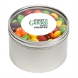 Skittles® in Lg Round Window Tin - Skittles® packed inside a large round window tin with customization options.