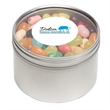 Jelly Belly® Candy in Lg Round Window Tin - Jelly Belly® jelly beans packed inside a large round window tin with customization options.