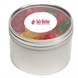 Gummy Bears in Lg Round Window Tin - Gummy bears packed inside a large round window tin with customization options.