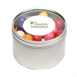 Gumballs in Lg Round Window Tin - Gumballs packed inside a large round window tin with customization options.