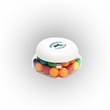 Gumballs in Sm Snack Canister - Small snack canister filled with gumballs; includes four color process imprint on the lid.