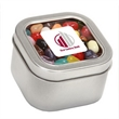 Jelly Belly® Candy in Lg Square Window Tin - Large square-shaped window tin filled with Jelly Belly® jelly beans; includes a four color process imprint.