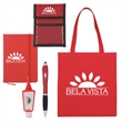 Tradeshow Survival Kit - Tote bag with stylus pen, hand sanitizer, notebook, and wallet / badge holder.