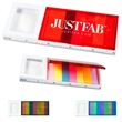 Combination Sticky Note & Ruler & Magnifier - Slim plastic case holds mini sticky notes in assortment of seven colors and has integrated magnifier and standard/metric ruler.