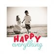 Happy everything Red & Blue Square Flat Photo Card - Happy everything Red & Blue Square Flat Photo Card