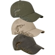 Fins Dri Duck Waxy Canvas Trout Cap - Unstructured, low-profile waxy canvas cap with trout design. Blank.