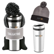 Tailgating Gift Set - Pom-pom knit beanie and a Maximus stainless steel tumbler together in a gift set.