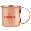 17 oz. Copper Coated Stainless Steel Moscow Mule Mug - 17 ounce copper coated stainless steel Moscow Mule mug with C-shaped handle.