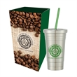 16 Oz. Stainless Steel Cold Cup And Straw With Custom Box