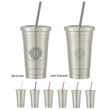 16 Oz. Stainless Steel Cold Cup With Straw